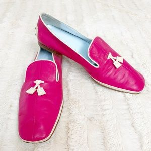 Tods Pink Leather with White Tassel Flat Loafer 39
